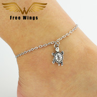 Ankle Bracelet Foot Leg Silver Chain With Fashion Cute Simple Animal Turtle anklets Jewelry For Female Best Friend Gifts B2