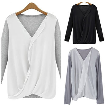 Fashion Casual  V-Neck Long Sleeve Chiffon Splicing T-Shirt Blouse For Women = 1842983364