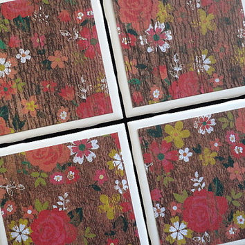 Wood Floral Design Coasters, Tile Coasters, Coasters, Rustic Coaster, Floral Coaster, Home Decor, Distressed Wood Coasters, Coaster Set of 4