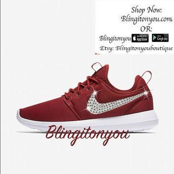 Blinged Nike Women's Roshe Two Bling Shoes Customized with Swarovski Crystals