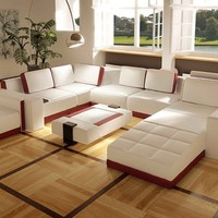 Contemporary Leather Sofa Set - Opulentitems.com