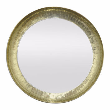 82439 Antiqued Metal Wall Mirror - Golden - Benzara
