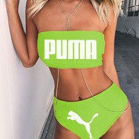 PUMA Fluorescent green Sexy strapless nude two piece high waist bikini off shoulder