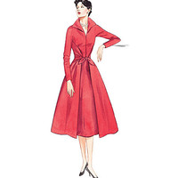 1950s COCKTAIL Day Fit & Flare DRESS Pattern Tie Front Faux Wrap Dress Vogue 2401 REISSUE Womens Sewing Patterns Bust 34 36 38 Size 12 14 16