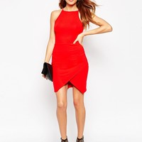 ASOS PETITE 90's Asymmetric Bodycon Dress With High Neck