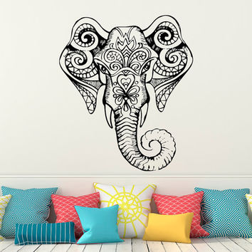 Wall Decal Indian Elephant Stickers- Elephant Yoga Ganesh Wall Decal Indie Buddha Wall Art Bedroom Dorm Tribal Boho Bohemian Home Decor C114