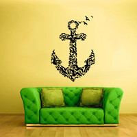 Wall Decal Vinyl Sticker Decals Anchor Sea Birds Feathers Ocean Ship rope Boat seagull gull fly z1890