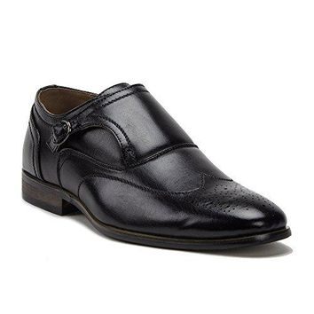 New Men's 95208 Leather Lined Monkstrap Wing Tip Loafer Shoes