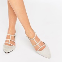 Glamorous Stone Suede Tie Up Ghillie Flat Shoes