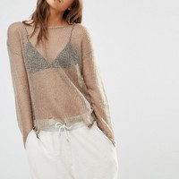 Daisy Street Sheer Knitted Top With Distressing at asos.com