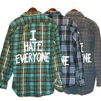I HATE EVERYONE Vintage Flannel Shirt COOL COLORS (One of a Kind)