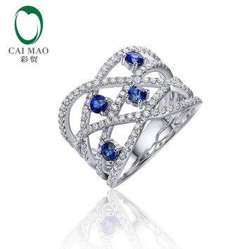 0.52ct Natural Round Blue Sapphires And 0.65ct SI G-H Diamond 14kt 585 White Gold Engagement Ring for Unisex