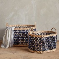 Marguerite Ribboned Basket by Anthropologie Blue Motif Set Of 2 House & Home