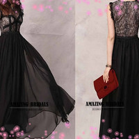 High quality custom-made black lace prom gown, lace formal dress, lace evening dress, party dress, lace chiffon dress big discount price