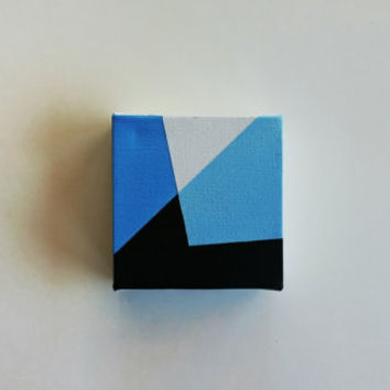 Abstract Painting / Tiny Canvas / Geometric Art / Acrylic Canvas Painting / Blue Black White Art / Home Decor / Wall Art