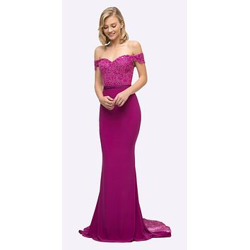 Off the Shoulder Long Magenta Gown Mermaid Lace Bodice