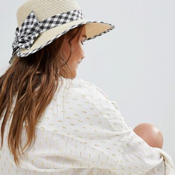Boardmans Gingham Bow Cut Out Straw Beach Hat at asos.com