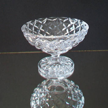 Vintage Diamond Pattern Glass Dish Candy Mint Nut Collectible Home Decor Clear Accent Piece
