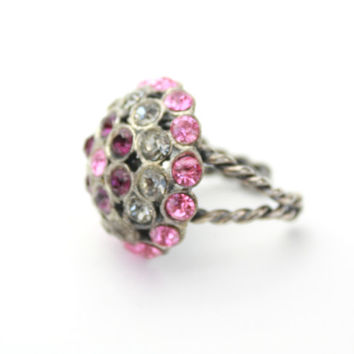 Unmarked Western Germany Adjustable Ring Pink Rhinestones