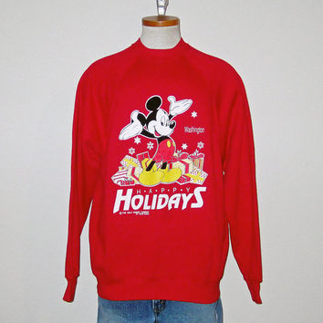 Vintage 80's MICKEY MOUSE Disney Holidays Christmas Crewneck Sweatshirt- Size MEDIUM