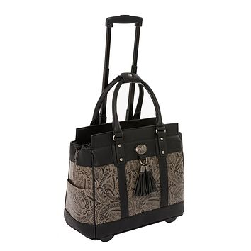 """""""THE DALLAS"""" Tooled Rolling iPad, Tablet or Laptop Tote Briefcase or Carryall Bag"""