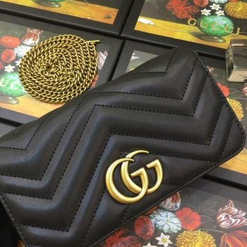 Kuyou Gb99822 Gucci 488426 Gg Marmont Chain Shoulder Bag With Double G Hardware 16.5x19.5x7.5cm