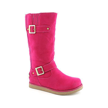 Shiekh Womens Urban Buckle pink fur flat mid calf boot | Shiekh Shoes