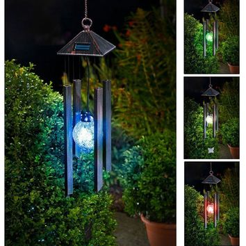 AceList Solar Powered Colour Changing LED Windchime Outdoor Garden Metal Wind Chime Shopmonk