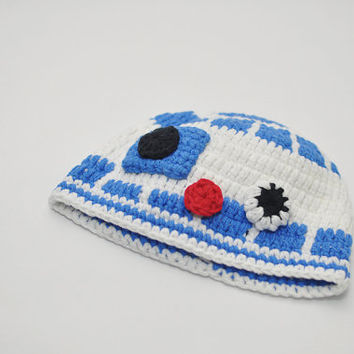 R2D2 hat crocheted baby hat photo prop Star Wars hat