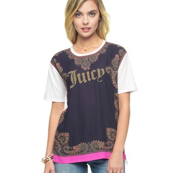 STUDDED PAISLEY BORDER GRAPHIC TEE