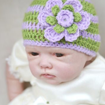 Baby Girl Newborn to 6-9 Months Size Crochet Shell Pattern Lilac Meadow Green Spring Hat Summer Hat Flower Beanie Hat Photo Prop Hat