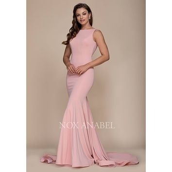 Rose Long Mermaid Prom Dress Bateau Neckline with Train