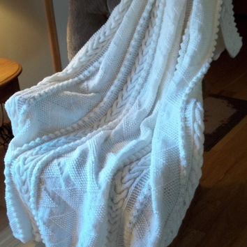 Afghan Knit in ZigZag Pattern in Soft White