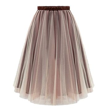 Tulle Skirts Womens Brown Gray Adult Tulle Skirt Elastic High Waist Pleated Midi Skirt