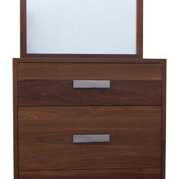 Mid Century Modern Dresser Built in Solid Walnut