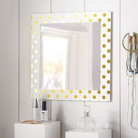 Paper Border Mirror, Gold Dot