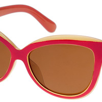 BUTTERFLY RED/BEIGE SUNGLASSES