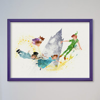 Peter Pan Poster Disney Watercolor Art Giclee Print Christmas Gift FRAMED
