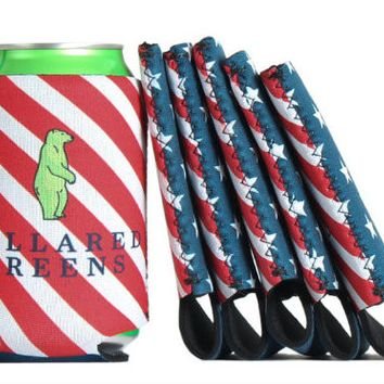 6 pack of USA Flag Koozies