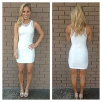 White Beaded Lurex Body-con Dress