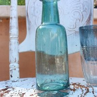 Handworked Glass Carafe in Lagoon for sale online from Carolina Boutique in Mill Valley