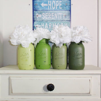 4- Hand Painted Quart Mason Jar Flower Vases-Nature Colors-Country Decor-Cottage Chic-Shabby Chic-French Chic