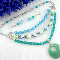 3 Strand beaded necklace and earring set, pendant statement necklace, 3 strand necklace, Blue & teal necklace set