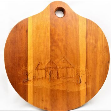 Wood Cutting Board, Country Barn Scene, Wood Burning Design, Vintage 1989 Cutting Board