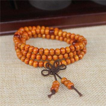 NEW!!! Dia 6mm 108 beads Natural Sandalwood Buddhist Buddha Meditation Wood Prayer Bead Mala Bracelet Women Men jewelry