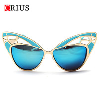 CRI women's sunglasses women cat eyes sun glasses oculos de sol vintage metal retro Butterfly Hollow