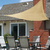 10 Ft Natural Shade Sail Triangle Canopy For Deck Porch Patio Pools Blocks Sun