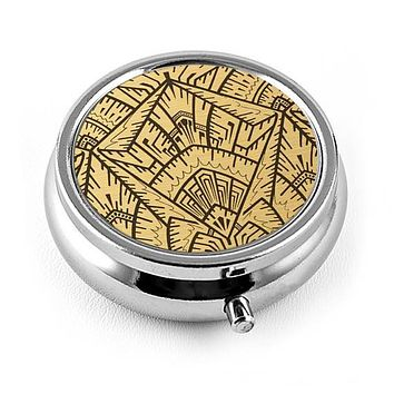 Art Deco Pill Box in Empire Gold Geometric Design