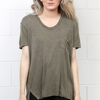 Short Sleeve Acid Wash Pocket Top {Olive}