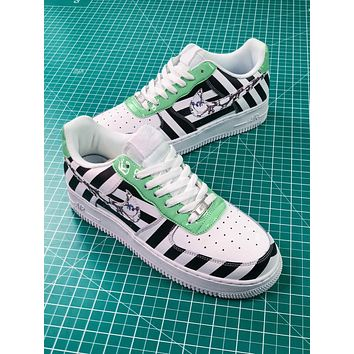 Off White X Nike Air Force 1 Low Af1 Upstep White Black Stripe Shoes - Sale